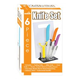 12 Units of 6 Piece Knife Set With Cutting Board Peeler And Stand - Kitchen Knives