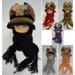 24 Units of Ladies Knitted Fashion Hat & Scarf Set [4 Flowers/Pearls] - Winter Sets Scarves , Hats & Gloves