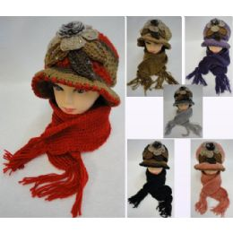 24 Units of Ladies Knitted Fashion Hat & Scarf Set [Flower/Fur/Rhinestone] - Winter Sets Scarves , Hats & Gloves