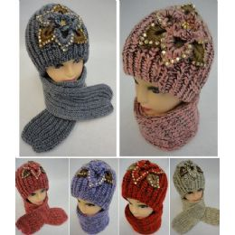 24 Units of Ladies Knitted Hat & Scarf Set [flowers/gems/metallic Accent] - Winter Sets Scarves , Hats & Gloves