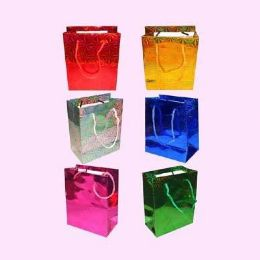 192 Units of VALENTINES GIFT BAG AST COLOR FOIL 5.5 X 4.5 X 2.5