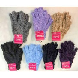 120 Units of Adult unisex fuzzy glove assorted colors - Fuzzy Gloves