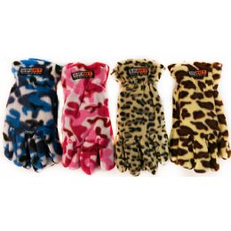 36 Units of Fleece Camo Leopard Print Winter Gloves Assorted - Fleece Gloves