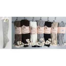 24 Units of Solid Color Knitted Stockings With Lace Trim Assorted - Womens Over the knee sock