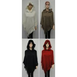 24 Units of Knitted Shawl With Fringe And Hood - Winter Pashminas and Ponchos