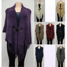 12 Units of Knitted Shawl With Fringe [sharktooth Button Closure] - Winter Pashminas and Ponchos