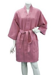 10 Units of Women's Knee Length Waffle Kimono Bathrobe In Lilac - Bath Robes