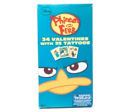 28 Units of Valentine Cards 34 Ct Deluxe Phineas & Ferb W/tattoos - Valentine Gift Bag's