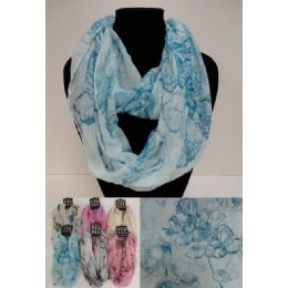 12 Units of Light Weight Infinity Scarf [lg Flowers] - Winter Scarves