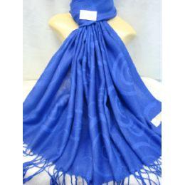 36 Units of Winter Fashion Pashminas Multi Colored Swirls Blues - Winter Pashminas and Ponchos
