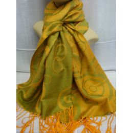 36 Units of Winter Fashion Pashminas Multi Colored Swirls In Yellow Green - Winter Pashminas and Ponchos