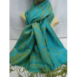 36 Units of Winter Fashion Pashminas Multi Colored Swirls In Torquoises Green - Winter Pashminas and Ponchos