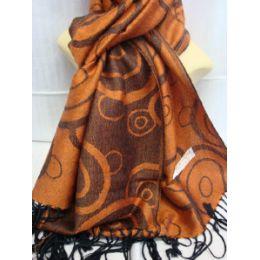 36 Units of Winter Fashion Pashminas Multi Colored Swirls In Brown And Orange - Winter Pashminas and Ponchos