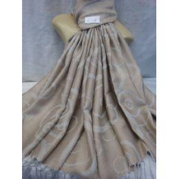 36 Units of Winter Fashion Pashminas Multi Colored Swirls In Light Gray - Winter Pashminas and Ponchos