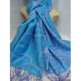 36 Units of Winter Fashion Pashminas Multi Colored Swirls In Blue And Gray - Winter Pashminas and Ponchos