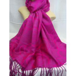 36 Units of Winter Fashion Pashminas Multi Colored Swirls In Pink - Winter Pashminas and Ponchos