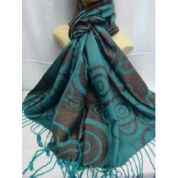 36 Units of Winter Fashion Pashminas Multi Colored Swirls In Turquoise And Gray - Winter Pashminas and Ponchos