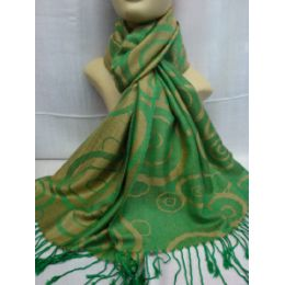 36 Units of Winter Fashion Pashminas Multi Colored Swirls In Green - Winter Pashminas and Ponchos