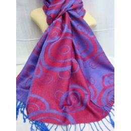 36 Units of Winter Fashion Pashminas Multi Colored Swirls In Purple Pink - Winter Pashminas and Ponchos