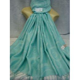 36 Units of Winter Fashion Pashminas Multi Colored Swirls In Light Blue - Winter Pashminas and Ponchos