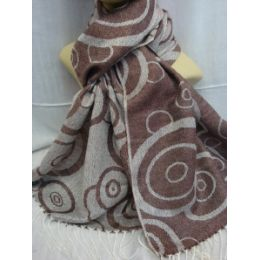 36 Units of Winter Fashion Pashminas Multi Colored Swirls Taupe - Winter Pashminas and Ponchos