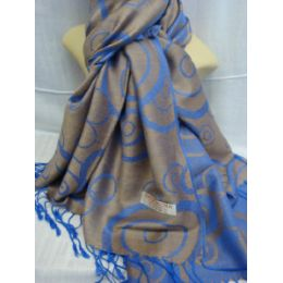 36 Units of Winter Fashion Pashminas Multi Colored Swirls Blue And Gray - Winter Pashminas and Ponchos
