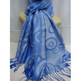 36 Units of Winter Fashion Pashminas Multi Colored Swirls In Blue - Winter Pashminas and Ponchos