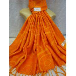 36 Units of Winter Fashion Pashminas Multi Colored Swirls Orange - Winter Pashminas and Ponchos