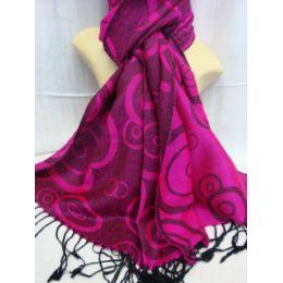 36 Units of Winter Fashion Pashminas Multi Colored Swirls Pink - Winter Pashminas and Ponchos