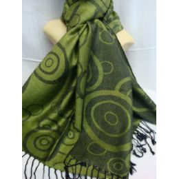 36 Units of Winter Fashion Pashminas Multi Colored Swirls Greens - Winter Pashminas and Ponchos