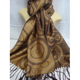 36 Units of Winter Fashion Pashminas Multi Colored Swirls In Brown - Winter Pashminas and Ponchos