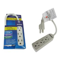 96 Units of 3 Outlet Power Strip ETL UL 1ft Long Cord - Chargers & Adapters