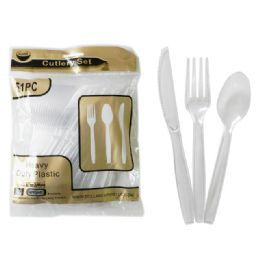 24 Units of 51 Piece Clear Plastic Cutlery - Disposable Cutlery