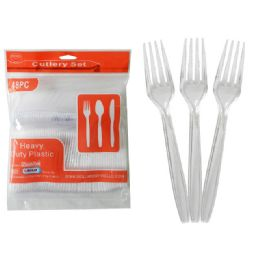48 Units of 48 Pc Clear Plastic Forks - Disposable Cutlery