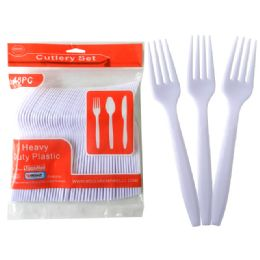 48 Units of 48 Pc White Plastic Forks - Disposable Cutlery