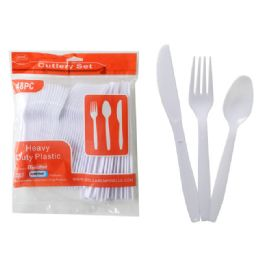 24 Units of 48pc White Plastic Cutlery - Disposable Cutlery