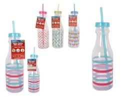 72 Units of Water Bottle Printing W/Straw - Drinking Water Bottle