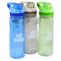 """24 Units of """"Keep Hyrated"""" Water Bottle Flip Top with Filter - Drinking Water Bottle"""