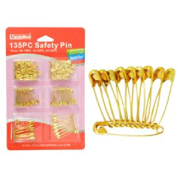 144 Units of 135PC GOLD SAFETY PIN - Sewing Supplies
