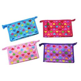 96 Units of Assorted color heart printed cosmetic bag - Cosmetic Cases