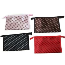 96 Units of Assorted Color Dotted Cosmetic Bag - Cosmetic Cases