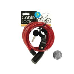 24 Units of Self Coiling Bicycle Cable Lock With Two Keys - Padlocks and Combination Locks