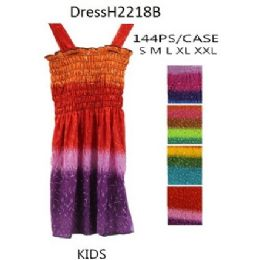 144 Units of Multi Color Girls Kids Dresses (tie dye prints) - Girls Dresses and Romper Sets