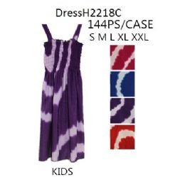 144 Units of Tie Dye Circle Prints Kids Girls Simple Strap Dresses - Girls Dresses and Romper Sets