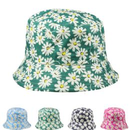 24 Units of Womens Flower Printed Bucket Hat Assorted - Bucket Hats