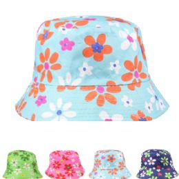 72 Units of Womens Floral Printed Bucket Hat - Bucket Hats