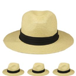 24 Units of Plain Solid Colors Man Fedora Hat with Black Strip - Sun Hats