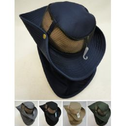 24 Units of Cotton Boonie Hat with Cloth Flap [Mesh] - Sun Hats