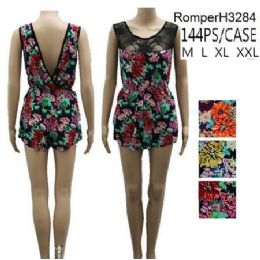 144 Units of Floral Pattern Lace Front Short Romper Sets - Womens Rompers & Outfit Sets