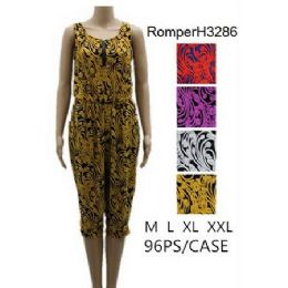96 Units of Royal Floral Pattern Romper Sets - Womens Rompers & Outfit Sets